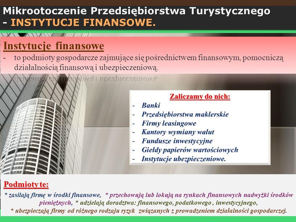 Instytucje finansowe Mikrootoczenie Przedsiębiorstwa Turystycznego