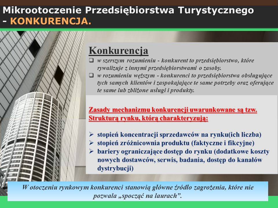 Konkurencja Mikrootoczenie Przedsiębiorstwa Turystycznego