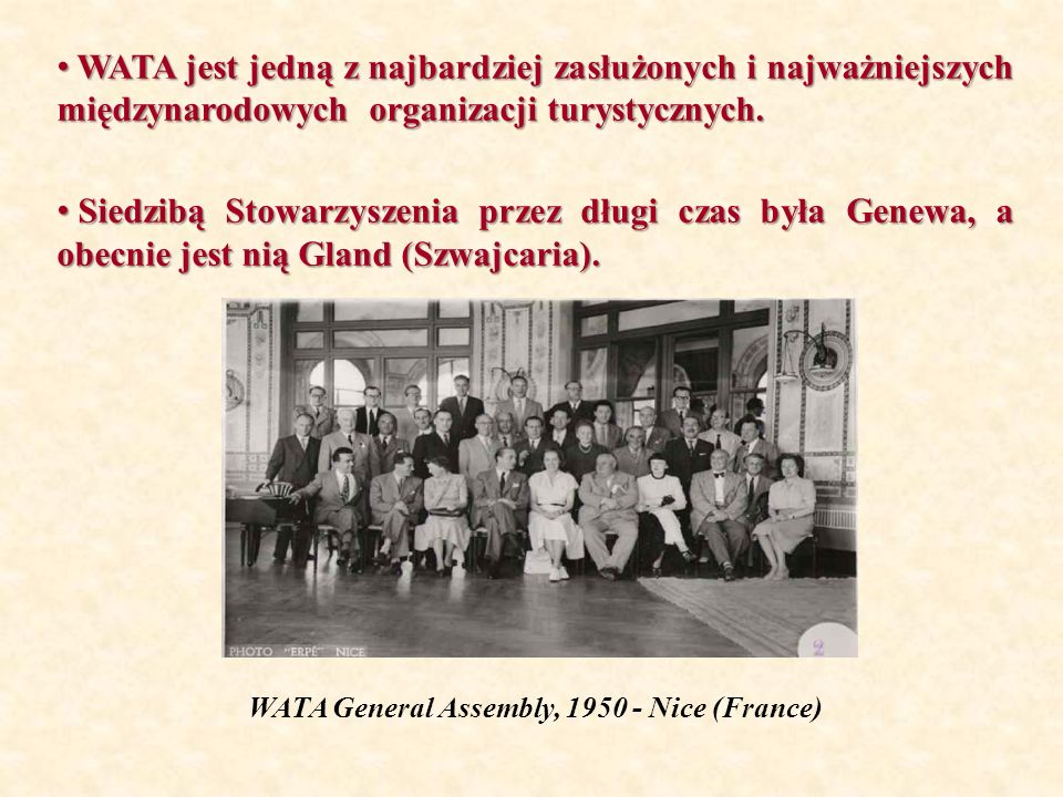 WATA General Assembly, 1950 - Nice (France)