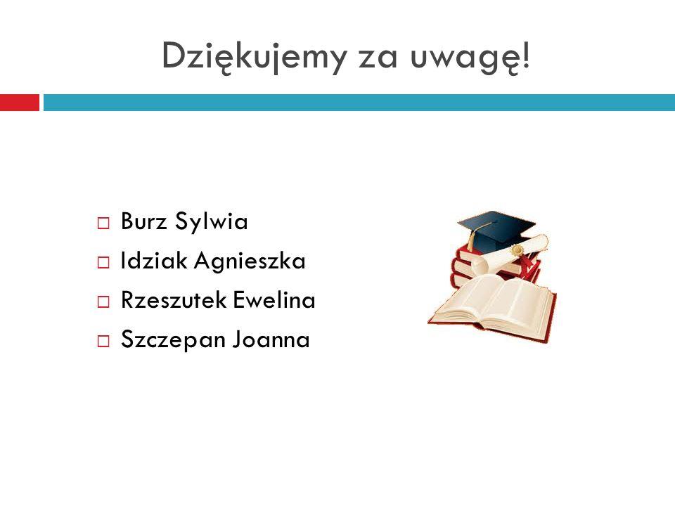 Dziękujemy za uwagę! Burz Sylwia Idziak Agnieszka Rzeszutek Ewelina