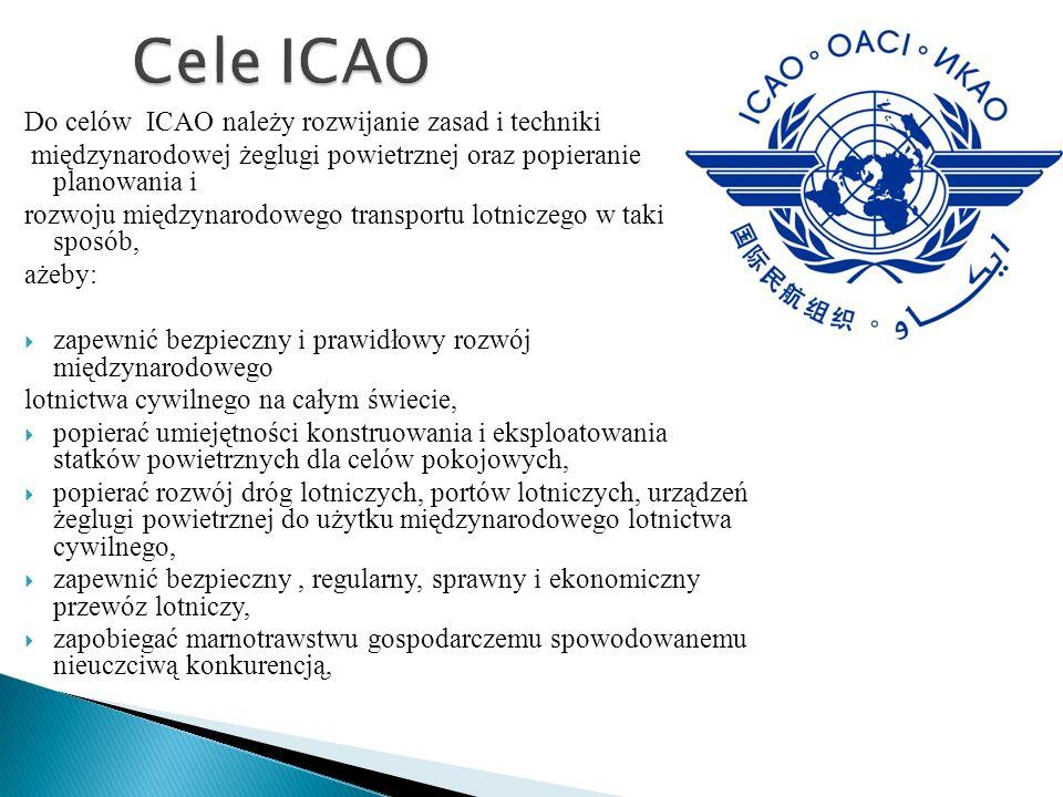 Cele ICAO Do celów ICAO należy rozwijanie zasad i techniki