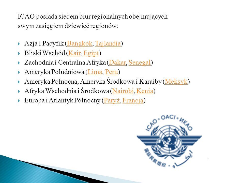 ICAO posiada siedem biur regionalnych obejmujących