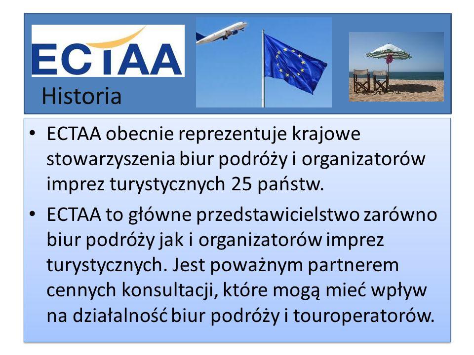 Historia ECTAA obecnie reprezentuje krajowe stowarzyszenia biur podróży i organizatorów imprez turystycznych 25 państw.