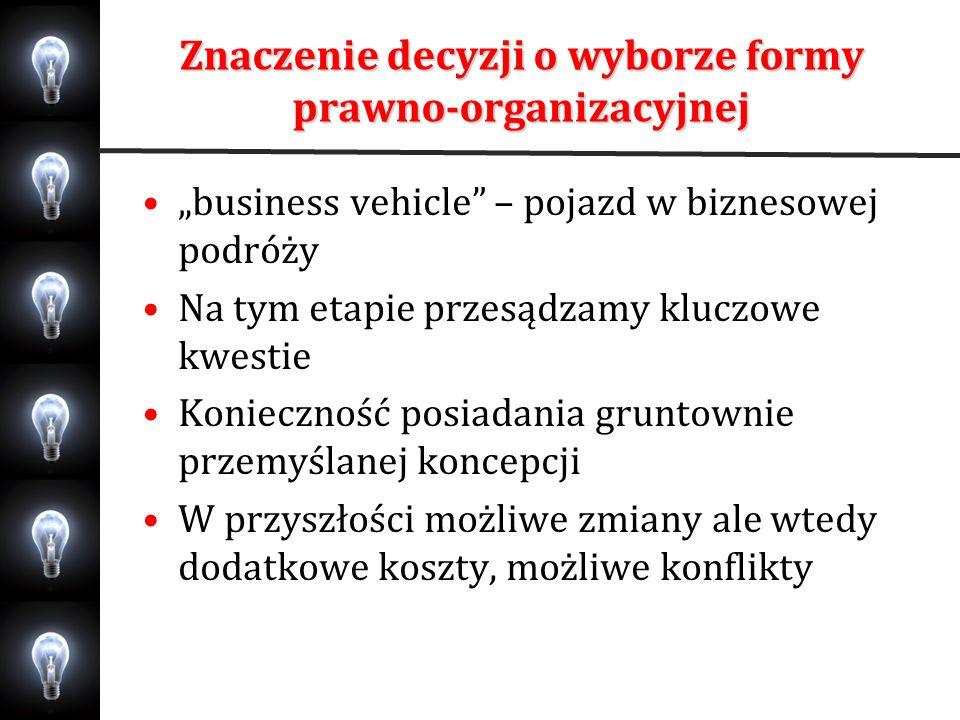Znaczenie decyzji o wyborze formy prawno-organizacyjnej