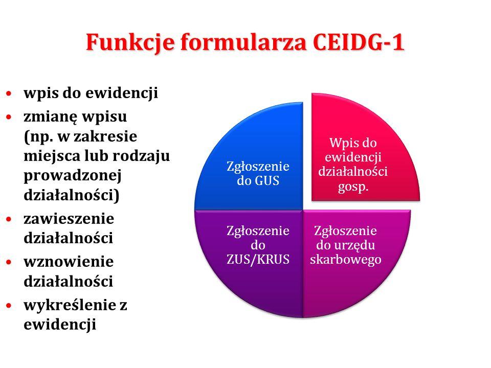 Funkcje formularza CEIDG-1