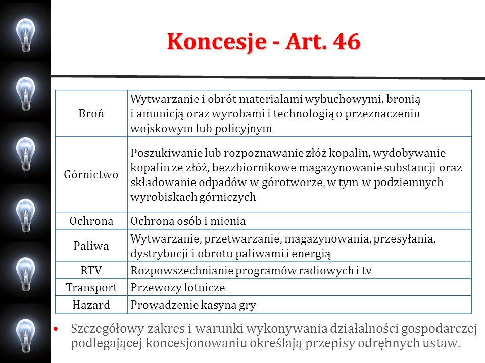 Koncesje - Art. 46 Broń.