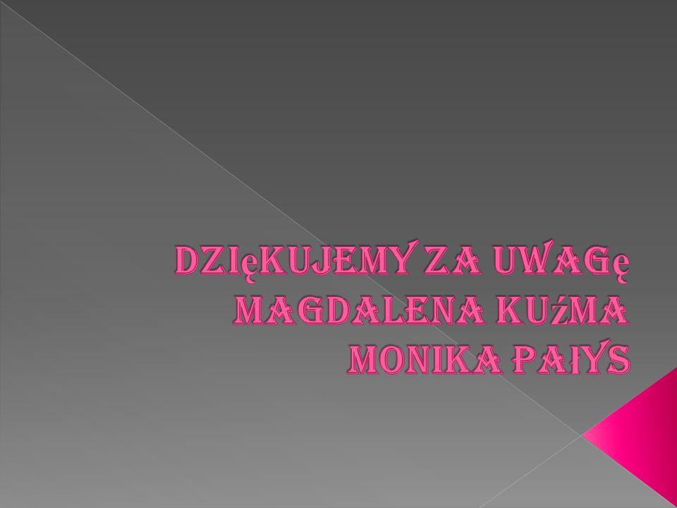 Dziękujemy za uwagę Magdalena Kuźma Monika Pałys
