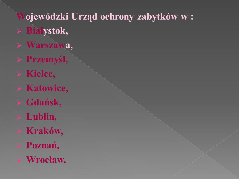 Wojewódzki Urząd ochrony zabytków w :