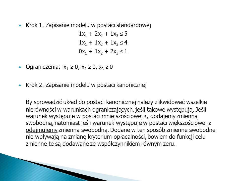 Krok 1. Zapisanie modelu w postaci standardowej