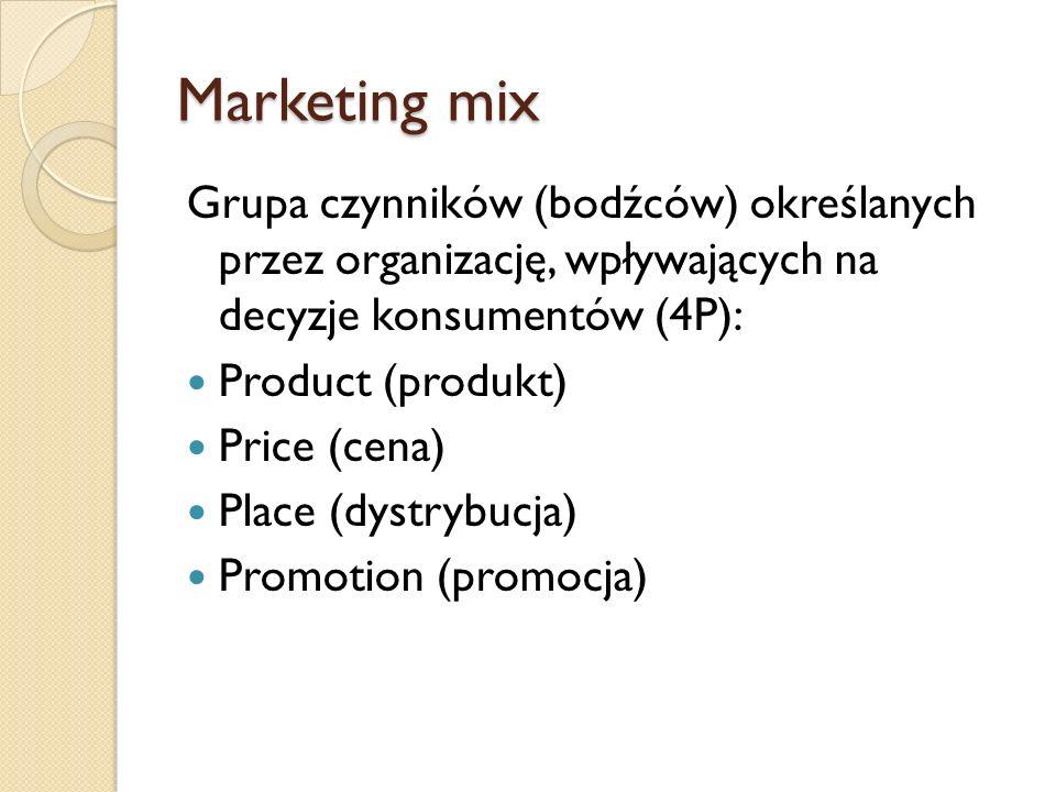 Marketing mix Grupa czynników (bodźców) określanych przez organizację, wpływających na decyzje konsumentów (4P):