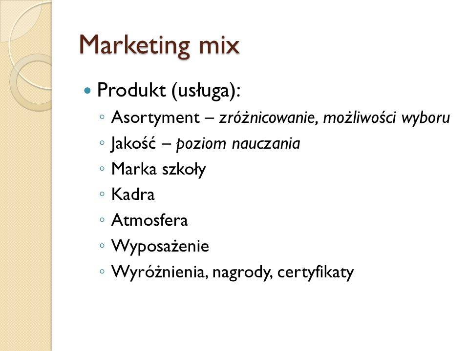 Marketing mix Produkt (usługa):