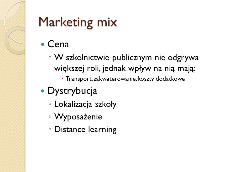 Marketing mix Cena Dystrybucja