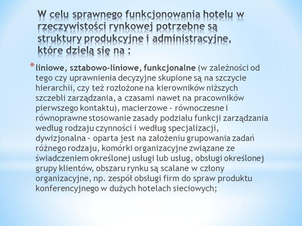 W celu sprawnego funkcjonowania hotelu w rzeczywistości rynkowej potrzebne są struktury produkcyjne i administracyjne, które dzielą się na :