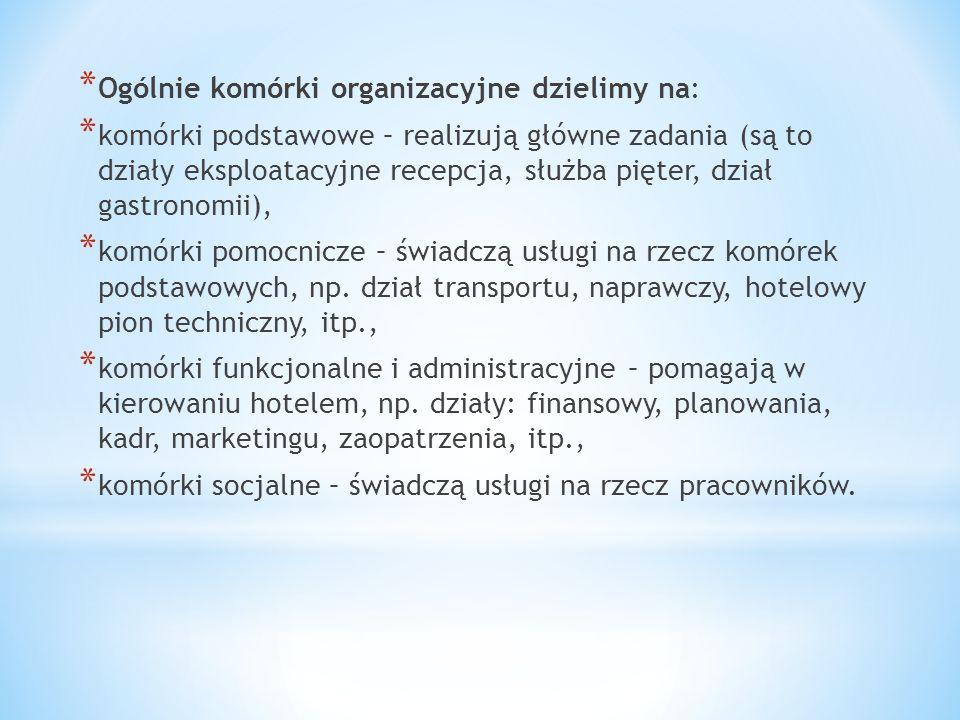 Ogólnie komórki organizacyjne dzielimy na: