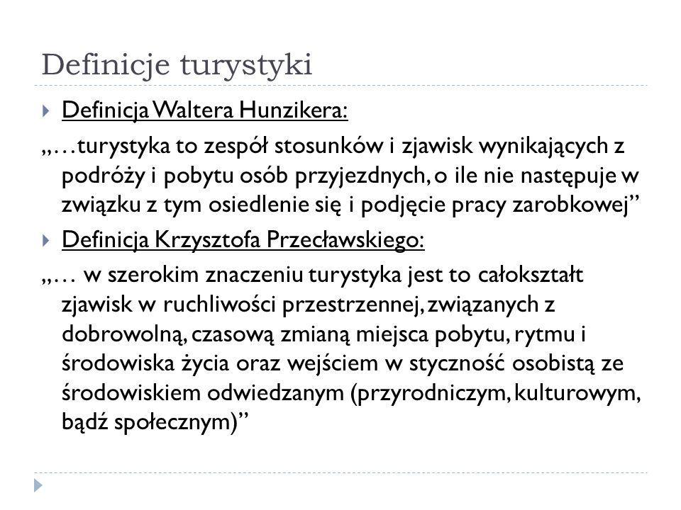 Definicje turystyki Definicja Waltera Hunzikera: