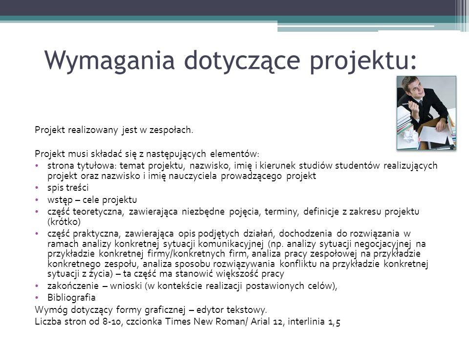 Wymagania dotyczące projektu: