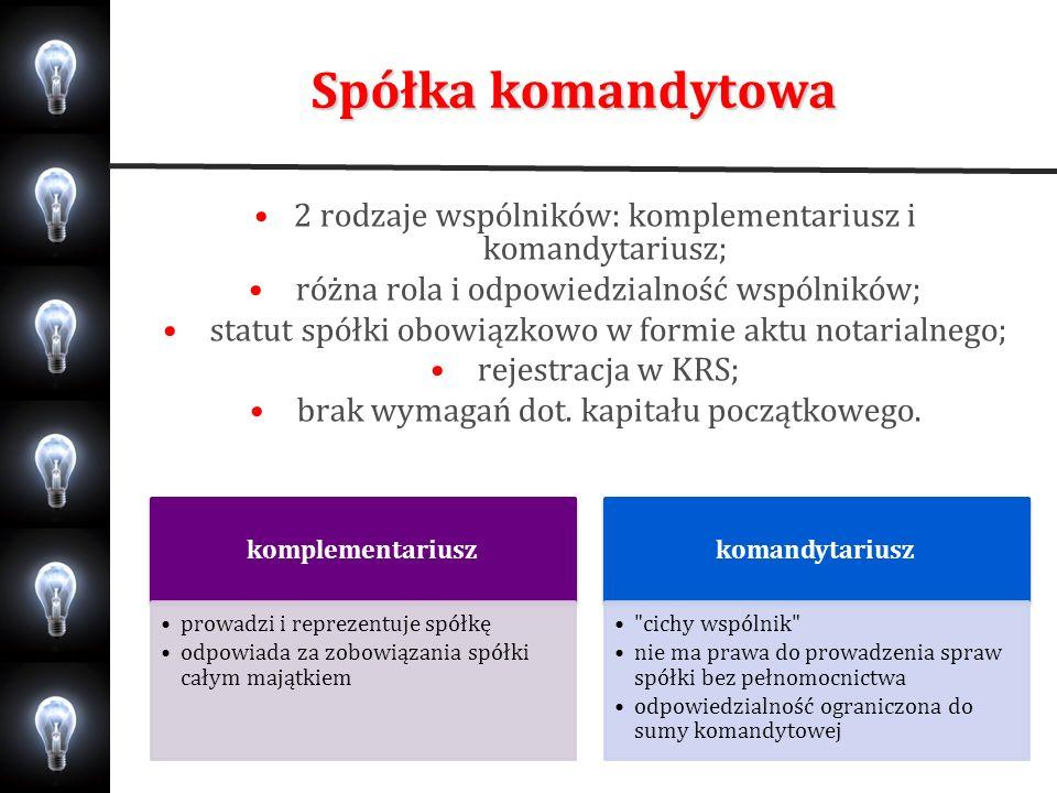 Spółka komandytowa2 rodzaje wspólników: komplementariusz i komandytariusz; różna rola i odpowiedzialność wspólników;
