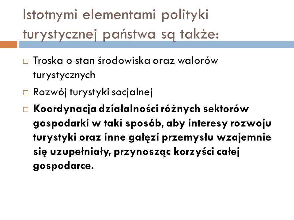 Istotnymi elementami polityki turystycznej państwa są także: