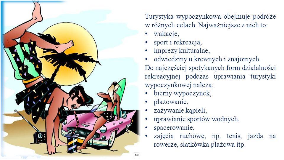 Turystyka wypoczynkowa obejmuje podróże w różnych celach
