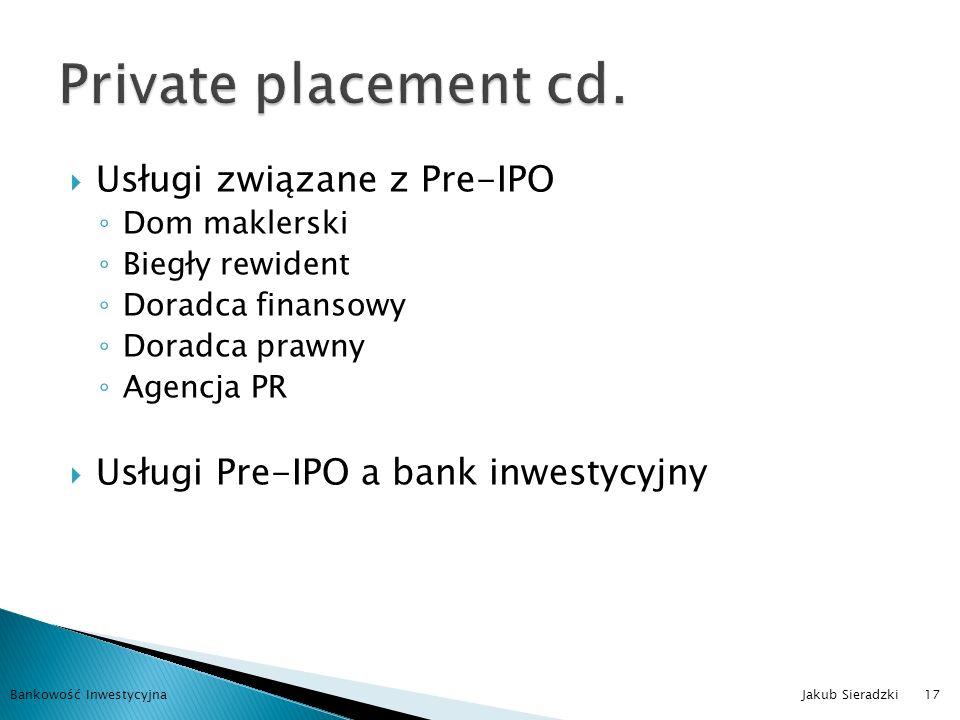 Private placement cd. Usługi związane z Pre-IPO