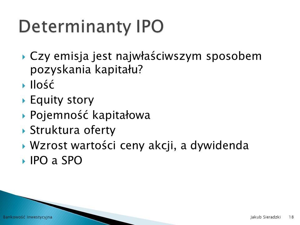 Determinanty IPO Czy emisja jest najwłaściwszym sposobem pozyskania kapitału Ilość. Equity story.