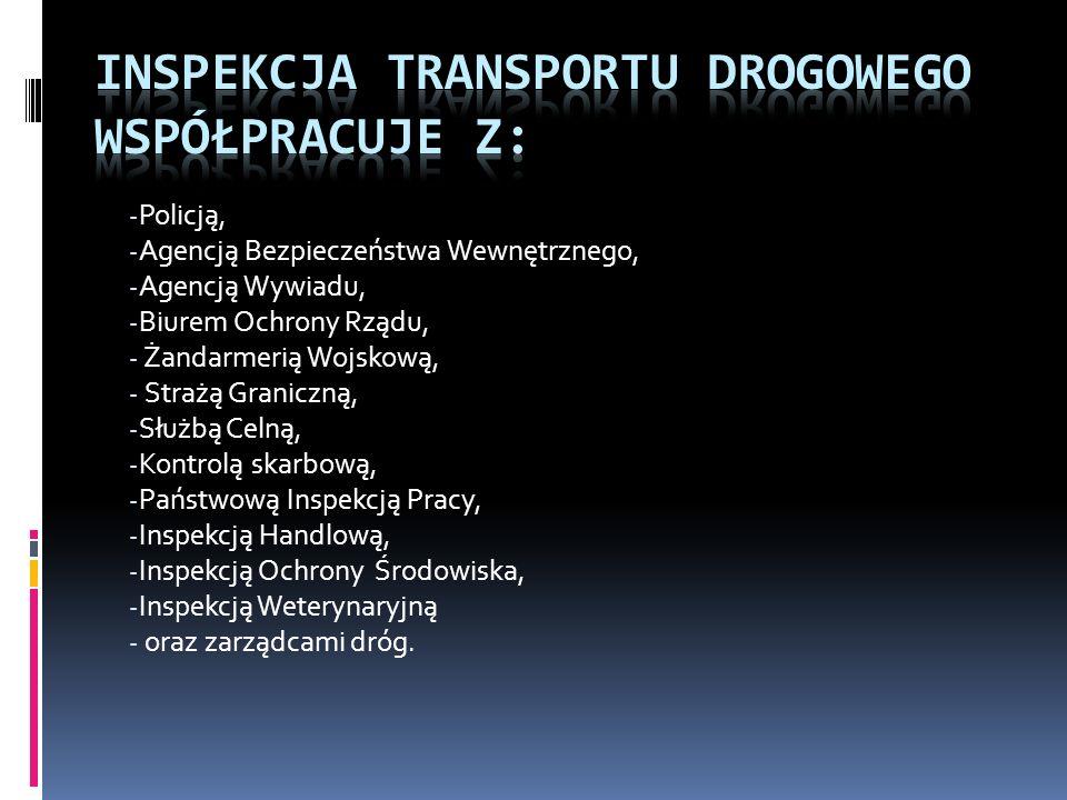 Inspekcja Transportu Drogowego współpracuje z: