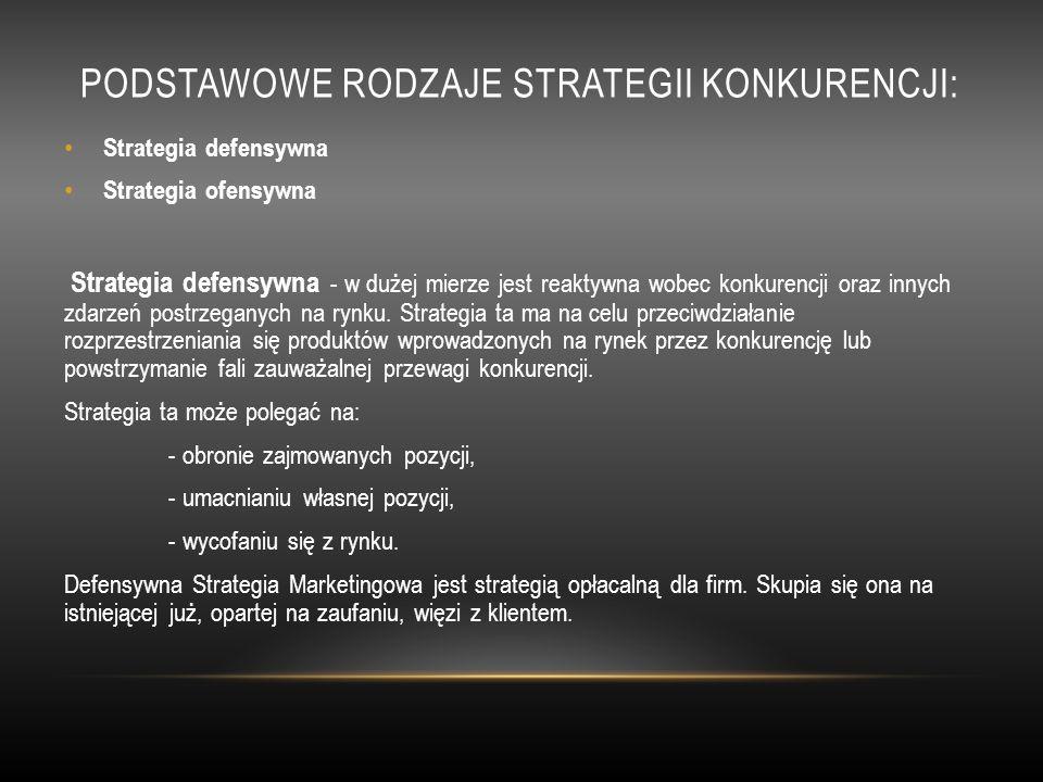 Podstawowe rodzaje strategii konkurencji: