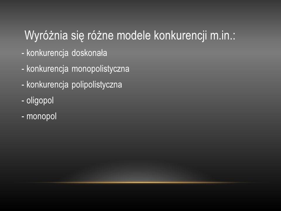 Wyróżnia się różne modele konkurencji m.in.: