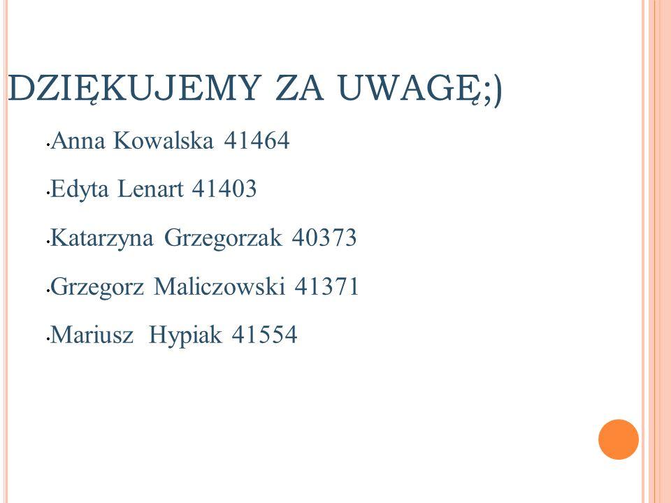 DZIĘKUJEMY ZA UWAGĘ;) Anna Kowalska 41464 Edyta Lenart 41403