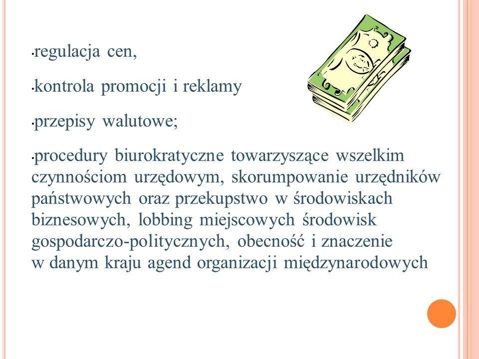 regulacja cen, kontrola promocji i reklamy. przepisy walutowe;