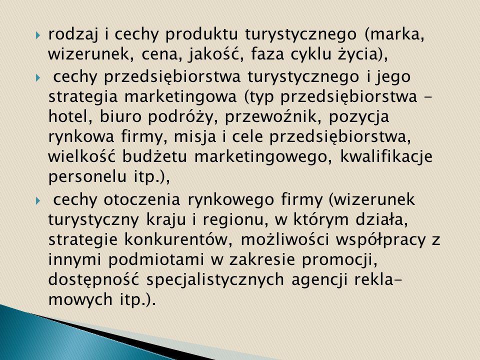 rodzaj i cechy produktu turystycznego (marka, wizerunek, cena, jakość, faza cyklu życia),