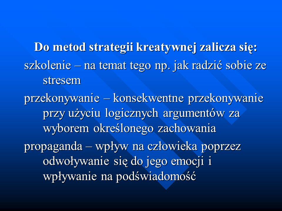 Do metod strategii kreatywnej zalicza się: