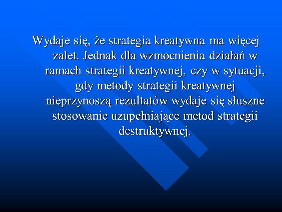 Wydaje się, że strategia kreatywna ma więcej zalet