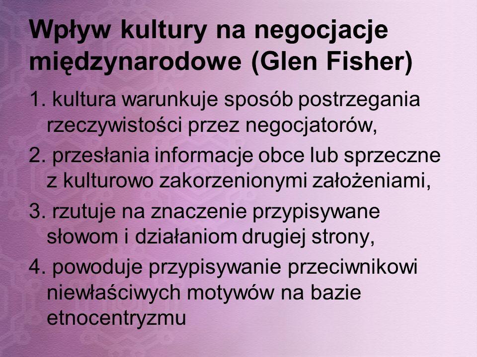 Wpływ kultury na negocjacje międzynarodowe (Glen Fisher)