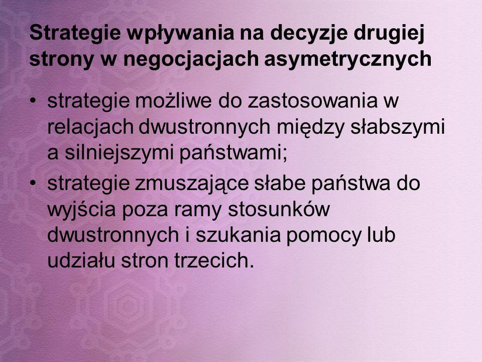 Strategie wpływania na decyzje drugiej strony w negocjacjach asymetrycznych