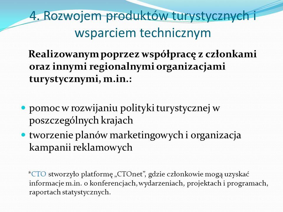 4. Rozwojem produktów turystycznych i wsparciem technicznym