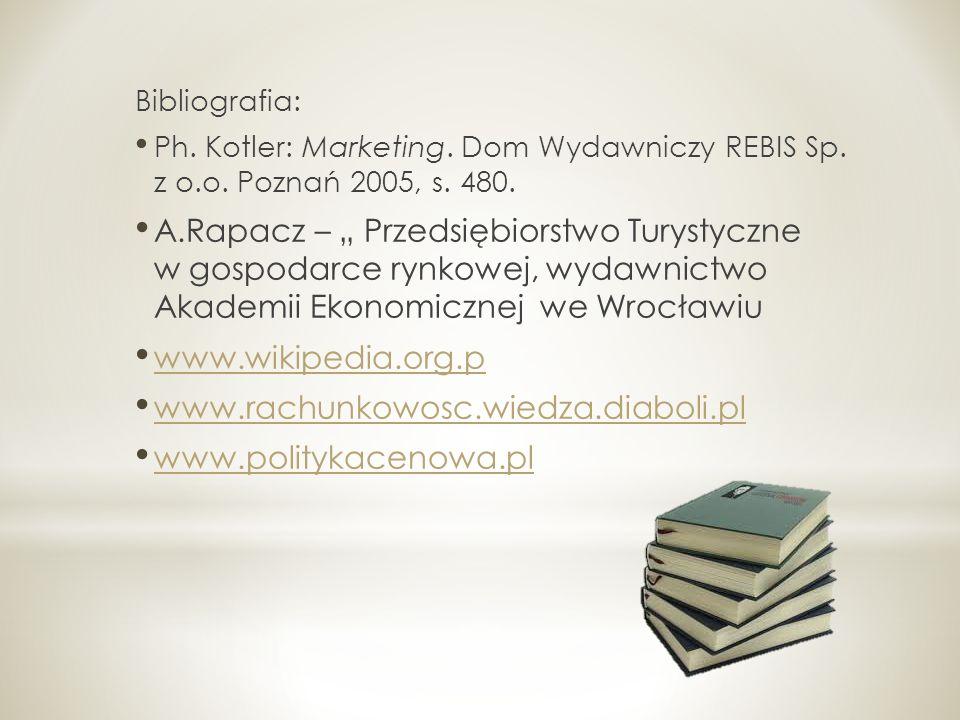 Bibliografia: Ph. Kotler: Marketing. Dom Wydawniczy REBIS Sp. z o.o. Poznań 2005, s. 480.