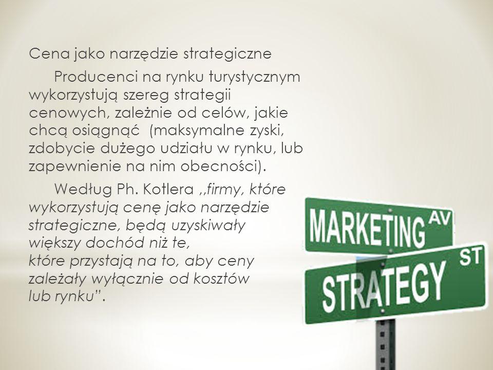 Cena jako narzędzie strategiczne Producenci na rynku turystycznym wykorzystują szereg strategii cenowych, zależnie od celów, jakie chcą osiągnąć (maksymalne zyski, zdobycie dużego udziału w rynku, lub zapewnienie na nim obecności).