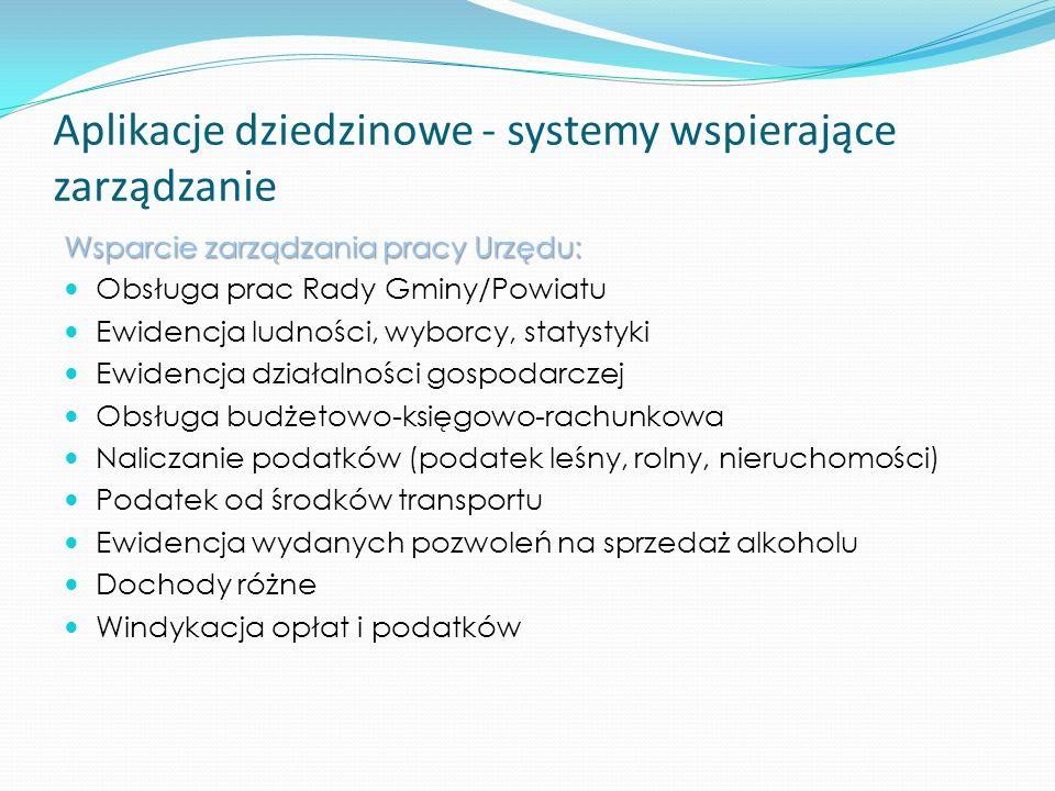 Aplikacje dziedzinowe - systemy wspierające zarządzanie