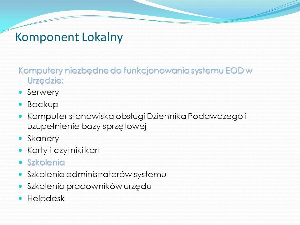 Komponent Lokalny Komputery niezbędne do funkcjonowania systemu EOD w Urzędzie: Serwery. Backup.