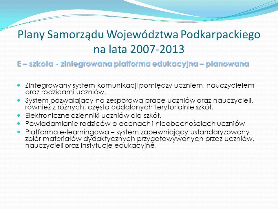 Plany Samorządu Województwa Podkarpackiego na lata 2007-2013