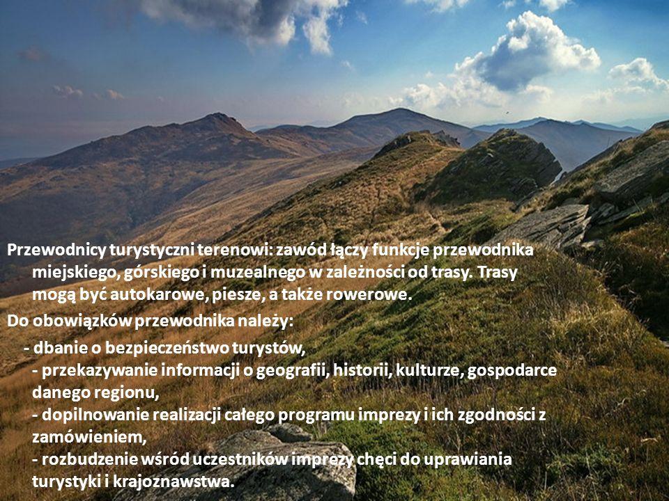 Przewodnicy turystyczni terenowi: zawód łączy funkcje przewodnika miejskiego, górskiego i muzealnego w zależności od trasy. Trasy mogą być autokarowe, piesze, a także rowerowe.