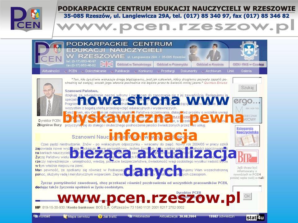nowa strona www błyskawiczna i pewna informacja bieżąca aktualizacja danych