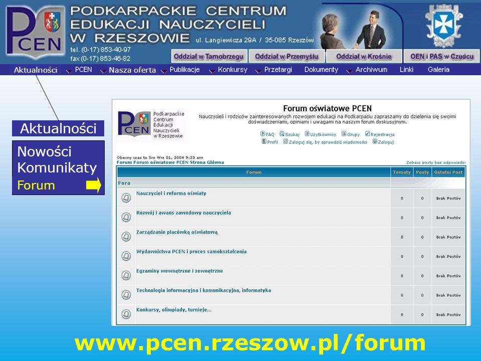 www.pcen.rzeszow.pl/forum Aktualności Nowości Komunikaty Forum Forum