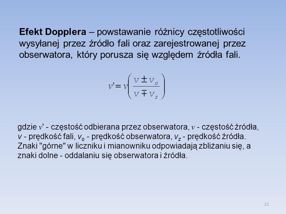 Efekt Dopplera – powstawanie różnicy częstotliwości wysyłanej przez źródło fali oraz zarejestrowanej przez obserwatora, który porusza się względem źródła fali.