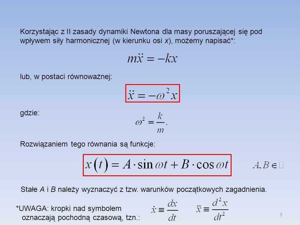 Korzystając z II zasady dynamiki Newtona dla masy poruszającej się pod wpływem siły harmonicznej (w kierunku osi x), możemy napisać*: