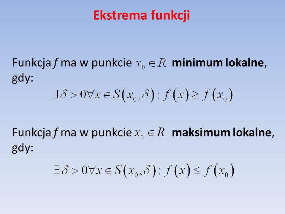 Ekstrema funkcji Funkcja f ma w punkcie minimum lokalne, gdy: Funkcja f ma w punkcie maksimum lokalne, gdy: