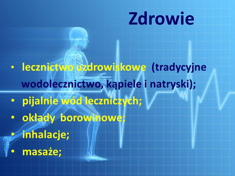 Zdrowie wodolecznictwo, kąpiele i natryski); pijalnie wód leczniczych;
