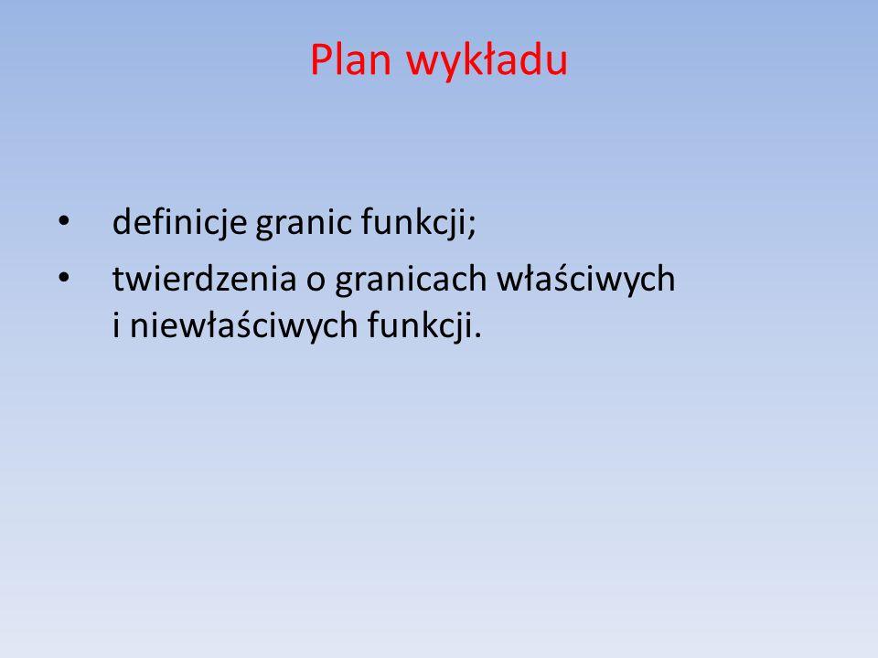 Plan wykładu definicje granic funkcji;