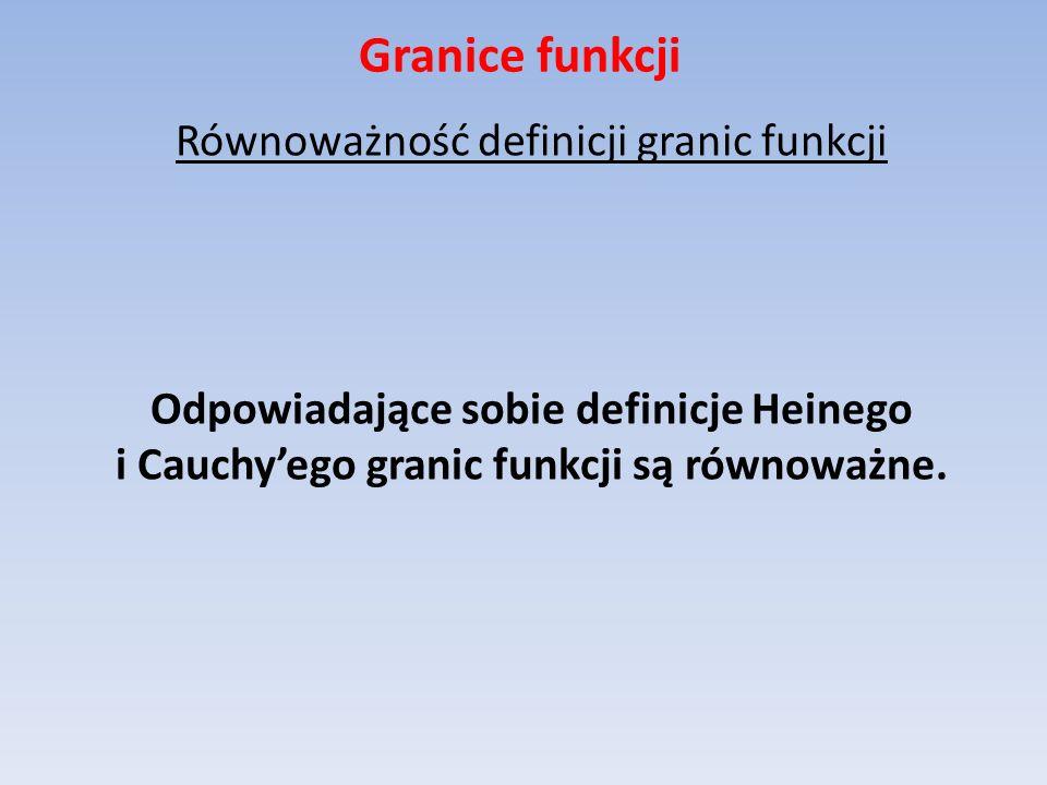 Granice funkcji Równoważność definicji granic funkcji Odpowiadające sobie definicje Heinego i Cauchy'ego granic funkcji są równoważne.